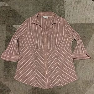 Dressbarn Striped Button Down Blouse 14/16